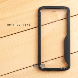 เคส Moto Z2 Play เคสฝาหลังอะคริลิคใส ขอบยางกันกระแทก แบบที่ 2 (ขอบนูนรอบกล้อง) สีดำ
