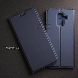 เคส Samsung Galaxy A6 เคสฝาพับเกรดพรีเมี่ยม เย็บขอบ พับเป็นขาตั้งได้ สีกรมท่า (Dux Ducis)