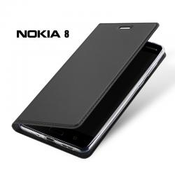 เคส Nokia 8 เคสฝาพับเกรดพรีเมี่ยม เย็บขอบ พับเป็นขาตั้งได้ สีเทา (Dux Ducis)