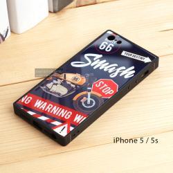 เคส iPhone 5 / 5s เคสขอบยางดำ + กระจกกันรอยครอบทับหลังเคส เกรดพรีเมี่ยม พิมพ์ลาย แบบที่ 2