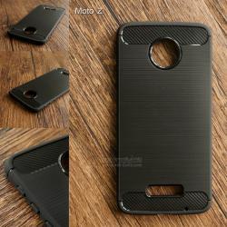 เคส Motorola Moto Z เคสนิ่มเกรดพรีเมี่ยม (Texture ลายโลหะขัด) กันลื่น ลดรอยนิ้วมือ สีดำ