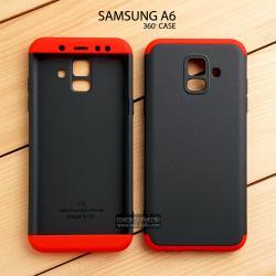 เคส Samsung Galaxy A6 เคสแข็ง 3 ส่วน ครอบคลุม 360 องศา (สีดำ - แดง)