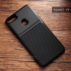 เคส Huawei Y9 2018 เคสนิ่ม TPU สีดำ (ขอบนูนกันกล้อง) ด้านหลังลายเคฟล่า