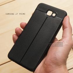 เคส Samsung Galaxy J7 Prime เคสนิ่ม Hybrid เกรดพรีเมี่ยม ลายหนัง (ขอบนูนกันกล้อง) แบบที่ 2 (มีเส้นตรงกลาง)