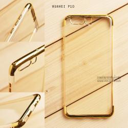 เคส Huawei P10 เคสนิ่ม SLIM TPU สีใส ขอบเงา ( สีทอง )