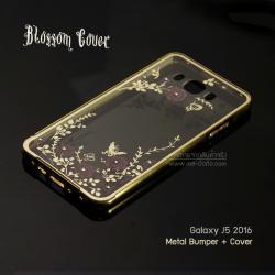เคส Samsung Galaxy J5 Version 2 (2016) l เคส Bumper ขอบกันกระแทก + ฝาหลังลายดอกไม้ สีทอง (Blossom cover)