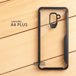 เคส Samsung Galaxy A8+ (Plus) 2018 เคสฝาหลังอะคริลิคใส ขอบยางกันกระแทก แบบที่ 2 (ขอบนูนรอบกล้อง) สีดำ