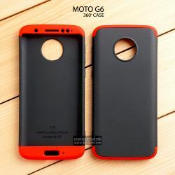 เคส MOTO G6 เคสแข็งแบบ 3 ส่วน ครอบคลุม 360 องศา (สีดำ - แดง)