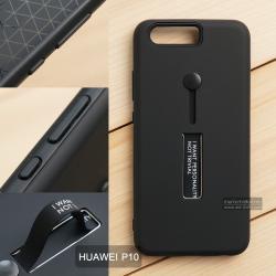 เคส Huawei P10 เคส Hybrid เกรดพรีเมี่ยม 2 ชั้น ขอบยางลดแรงกระแทก พร้อม (ขาตั้ง + สายคล้องนิ้ว) สีดำ