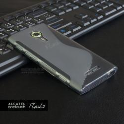 เคส Alcatel Onetouch Flash 2 เคสนิ่ม TPU แบบทูโทน สีดำใส
