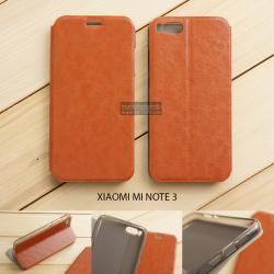 เคส Xiaomi Mi Note 3 เคสฝาพับบางพิเศษ พร้อมแผ่นเหล็กป้องกันของมีคม พับเป็นขาตั้งได้ สีน้ำตาล