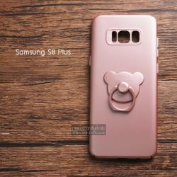 เคส Samsung Galaxy S8 Plus เคสแข็งความยืดหยุ่นสูง พร้อมแหวนมือถือ สีโรสโกลด์ (BEAR)