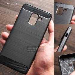 เคส Samsung Galaxy A8 2018 เคสนิ่มเกรดพรีเมี่ยม (Texture ลายโลหะขัด) กันลื่น ลดรอยนิ้วมือ สีดำ