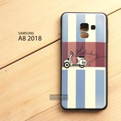เคส Samsung Galaxy A8 2018 เคสนิ่ม TPU พิมพ์ลาย (ขอบดำ) แบบที่ 5