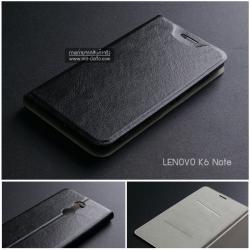เคส Lenovo K6 Note เคสฝาพับบางพิเศษ พร้อมแผ่นเหล็กป้องกันของมีคม พับเป็นขาตั้งได้ สีดำ