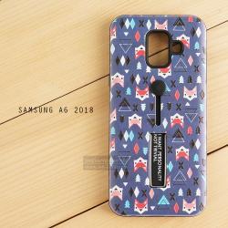 เคส Samsung Galaxy A6 (2018) เคส Hybrid เกรดพรีเมี่ยม 2 ชั้น ขอบยางลดแรงกระแทก พร้อม (ขาตั้ง + สายคล้องนิ้ว) พิมพ์ลายนูน แบบที่ 3