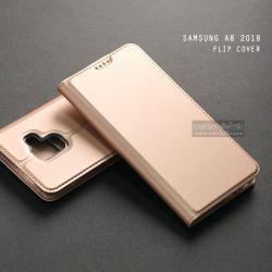เคส Samsung Galaxy A8 2018 เคสฝาพับเกรดพรีเมี่ยม (เย็บขอบ) พับเป็นขาตั้งได้ สีโรสโกลด์ (Dux Ducis)