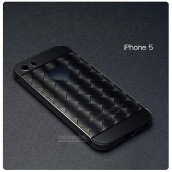 เคส iPhone 5 / 5s / SE l เคสฝาหลัง + Bumper (แบบเงา) ขอบกันกระแทก สีสเปซเกรย์ (แบบเงา CHECKED PATTERN)