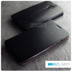 เคส Meizu MX5 เคสหนัง + แผ่นเหล็กป้องกันตัวเครื่อง (บางพิเศษ) สีดำ