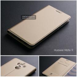 เคส Huawei Mate 9 เคสฝาพับเกรดพรีเมี่ยม (เย็บขอบ) พับเป็นขาตั้งได้ สีทอง