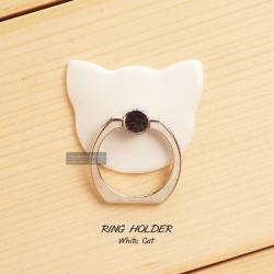( สำหรับลูกค้าที่สั่งซื้อสินค้า 100 บาท ขึ้นไป ไม่รวมค่าจัดส่ง) RING HOLDER แหวนมือถือ ( ป้องกันการตกหล่น ใช้เป็นขาตั้งได้ ฯลฯ ) สีขาว (CAT)