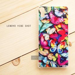 เคส Lenovo Vibe Shot เคสแข็งพิมพ์ลายแบบที่ 5 Colorful Butterflies