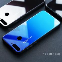เคส Huawei Y6 Prime เคสขอบนิ่มสีดำ + กระจกกันรอยครอบทับหลังเคส (สีน้ำเงิน-ฟ้า - ผิวเงา)