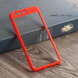 เคส Huawei P10 Plus เคส Hybrid ฝาหลังอะคริลิคใส ขอบยางกันกระแทก แบบที่ 2 (ขอบนูนรอบกล้อง) สีส้มเข้ม