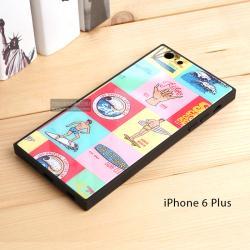 เคส iPhone 6 Plus เคสขอบยางดำ + กระจกกันรอยครอบทับหลังเคส เกรดพรีเมี่ยม พิมพ์ลาย แบบที่ 1