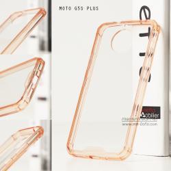 เคส Moto G5s Plus เคส Hybrid ฝาหลังอะคริลิคใส ขอบยางกันกระแทก สีส้มอ่อน