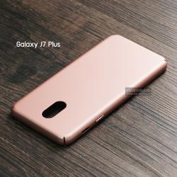 เคส Samsung Galaxy J7 Plus เคสแข็งสีเรียบ คลุมขอบ 4 ด้าน สีโรสโกลด์