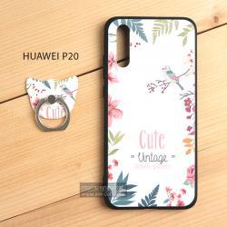 เคส Huawei P20 เคสนิ่ม TPU พิมพ์ลายนูน (ขอบดำ) + พร้อมแหวนมือถือ แบบที่ 2
