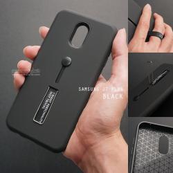 เคส Samsung J7 Plus เคส Hybrid เกรดพรีเมี่ยม 2 ชั้น ขอบยางลดแรงกระแทก พร้อม (ขาตั้ง + สายคล้องนิ้ว) สีดำ