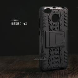 เคส Xiaomi Redmi 4X เคสบั๊มเปอร์ กันกระแทก Defender (พร้อมขาตั้ง) สีดำ