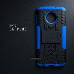 เคส MOTO G6 Plus เคสบั๊มเปอร์ กันกระแทก Defender (พร้อมขาตั้ง) สีน้ำเงิน