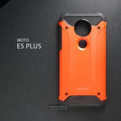 เคส MOTO E5 PLUS เคสบั๊มเปอร์ (เสริมขอบกันกระแทก) สีส้มอมแดง Hybrid Protection