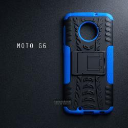 เคส MOTO G6 เคสบั๊มเปอร์ กันกระแทก Defender (พร้อมขาตั้ง) สีน้ำเงิน