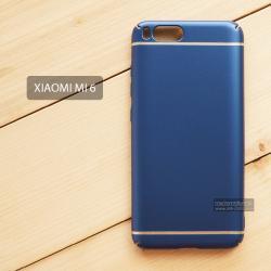 เคส Xiaomi Mi 6 เคสแข็งสีเรียบ คลุมขอบ 4 ด้าน สีน้ำเงิน (แถบสีเงิน บน-ล่าง)