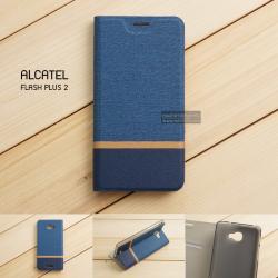 เคส Alcatel Onetouch Flash Plus 2 เคสฝาพับหนัง PVC มีช่องใส่บัตร สีน้ำเงิน