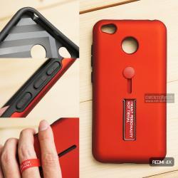 เคส Xiaomi Redmi 4X เคส Hybrid เกรดพรีเมี่ยม 2 ชั้น ขอบยางลดแรงกระแทก พร้อม (ขาตั้ง + สายคล้องนิ้ว) สีแดง