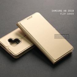 เคส Samsung Galaxy A8 2018 เคสฝาพับเกรดพรีเมี่ยม (เย็บขอบ) พับเป็นขาตั้งได้ สีทอง (Dux Ducis)