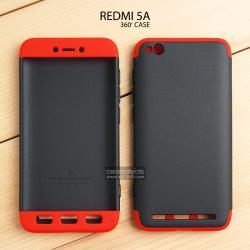 เคส Xiaomi Redmi 5A เคสแข็ง 3 ส่วน ครอบคลุม 360 องศา (สีดำ - แดง)