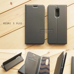 เคส Xiaomi Redmi 5 Plus เคสฝาพับเกรดพรีเมี่ยม เย็บขอบ พับเป็นขาตั้งได้ สีเทา (DUX DUCIS)