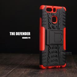 เคส Huawei P9 กรอบบั๊มเปอร์ กันกระแทก Defender (เป็นขาตั้งได้) สีแดง