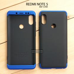 เคส Redmi Note 5 เคสแข็งแบบ 3 ส่วน ครอบคลุม 360 องศา (สีดำ - น้ำเงิน)