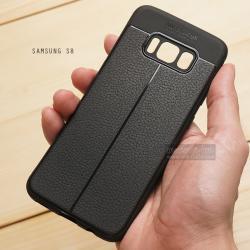 เคส Samsung Galaxy S8 เคสนิ่ม Hybrid เกรดพรีเมี่ยม ลายหนัง (ขอบนูนกันกล้อง) แบบที่ 2 (มีเส้นตรงกลาง)