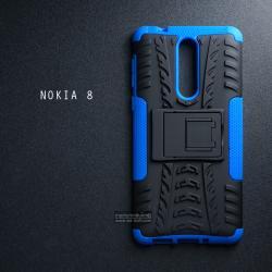 เคส Nokia 8 เคสบั๊มเปอร์ กันกระแทก Defender (พร้อมขาตั้ง) สีน้ำเงิน