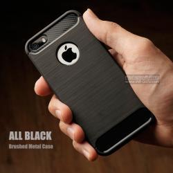เคส iPhone 5 / 5S / SE เคสนิ่มเกรดพรีเมี่ยม (Texture ลายโลหะขัด) กันลื่น ลดรอยนิ้วมือ สีดำ