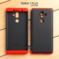 เคส Nokia 7 Plus เคสแข็งแบบ 3 ส่วน ครอบคลุม 360 องศา (สีดำ - แดง)