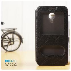 เคส Meizu MX4 l เคสฝาพับ เป็นขาตั้งได้ พร้อมช่องรูดรับสาย สีดำ (FREE ฟิล์มกันรอย)